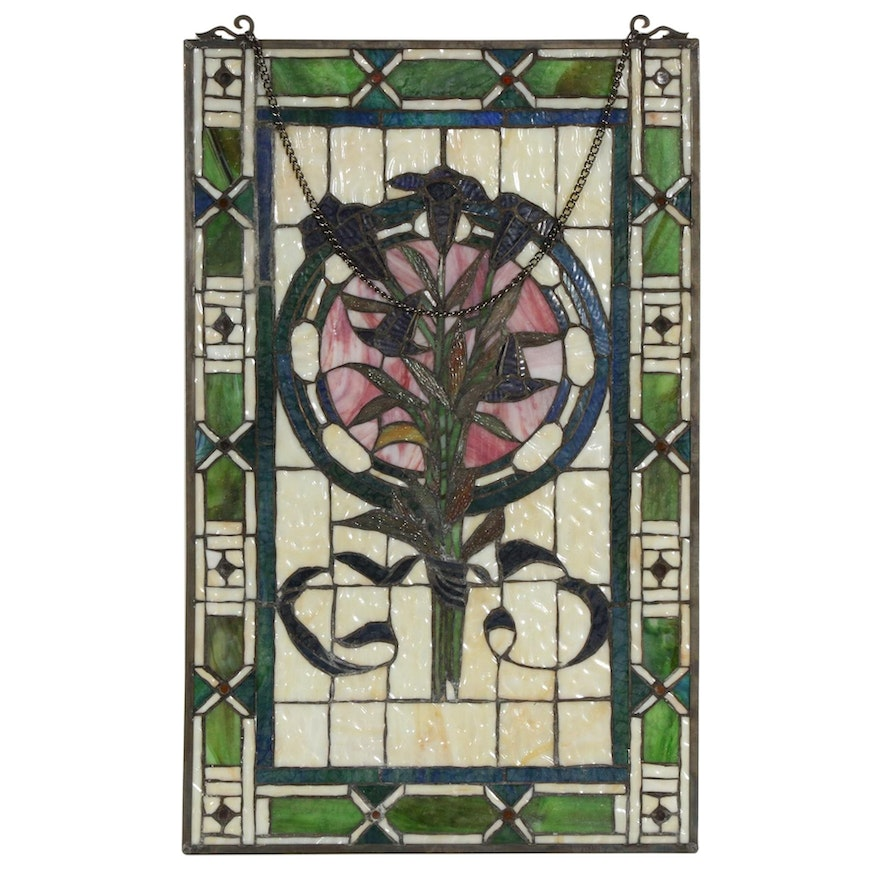 Floral Motif Slag Glass Hanging Panel, Mid to Late 20th Century