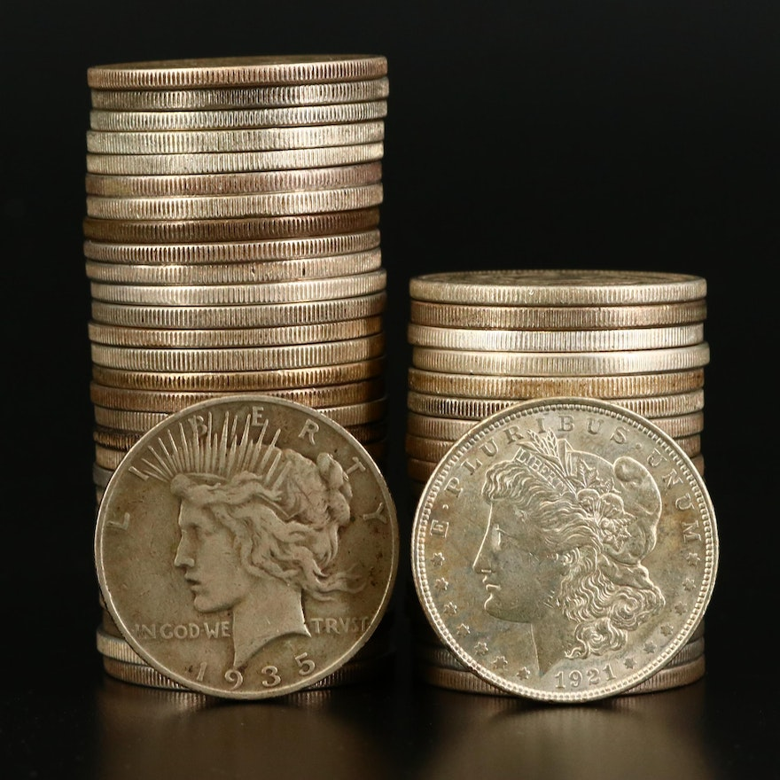 Group of Fifty American Silver Dollars