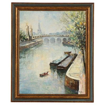 Impressionist Style Parisian Seine Landscape Oil Painting