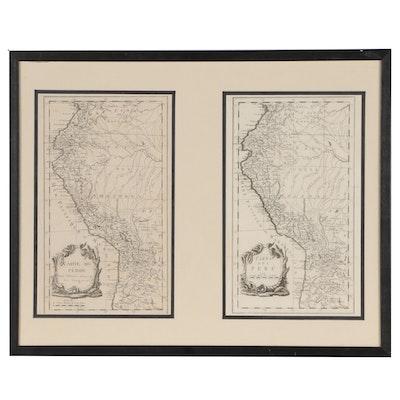 """Jacques-Nicolas Bellin Engraved Map """"Carte du Pérou"""" with Later """"Carta del Perú"""""""
