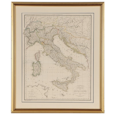 "Pierre Lapie Engraved Map ""Italie et Royaume d'Illyrie"", 1816"