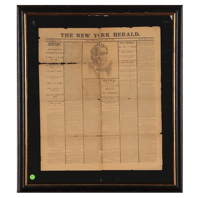 """New York Herald"" Lincoln's Assassination Replica Cover Page, Late 19th Century"