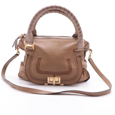 Chloé Marcie Leather Convertible Shoulder Bag in Light Brown and Taupe