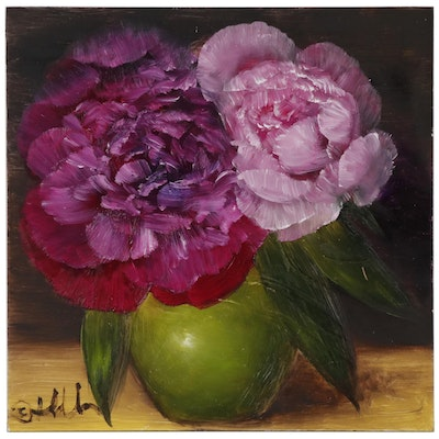 "Thuthuy Tran Oil Painting ""Pink Peonies in Morning"", 2019"