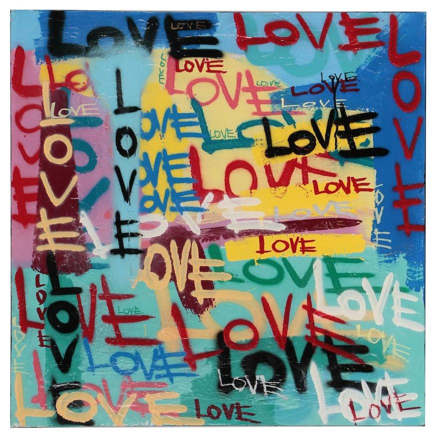 R.C Raynor Graffiti Style Mixed Media Painting