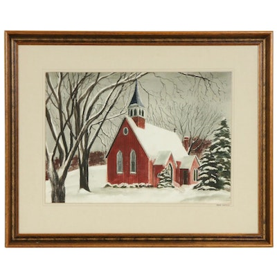"""Marvin C. Ross Watercolor Painting """"Red Gothic"""""""