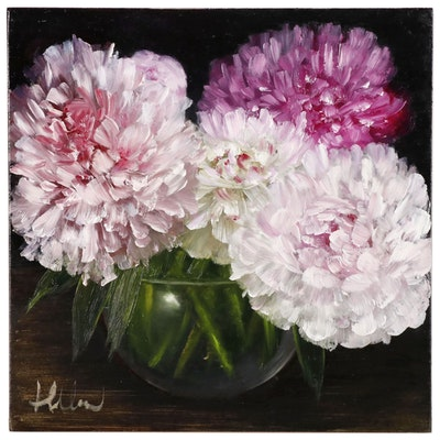 """Thuthuy Tran Oil Painting """"Peonies and Glass Vase"""""""