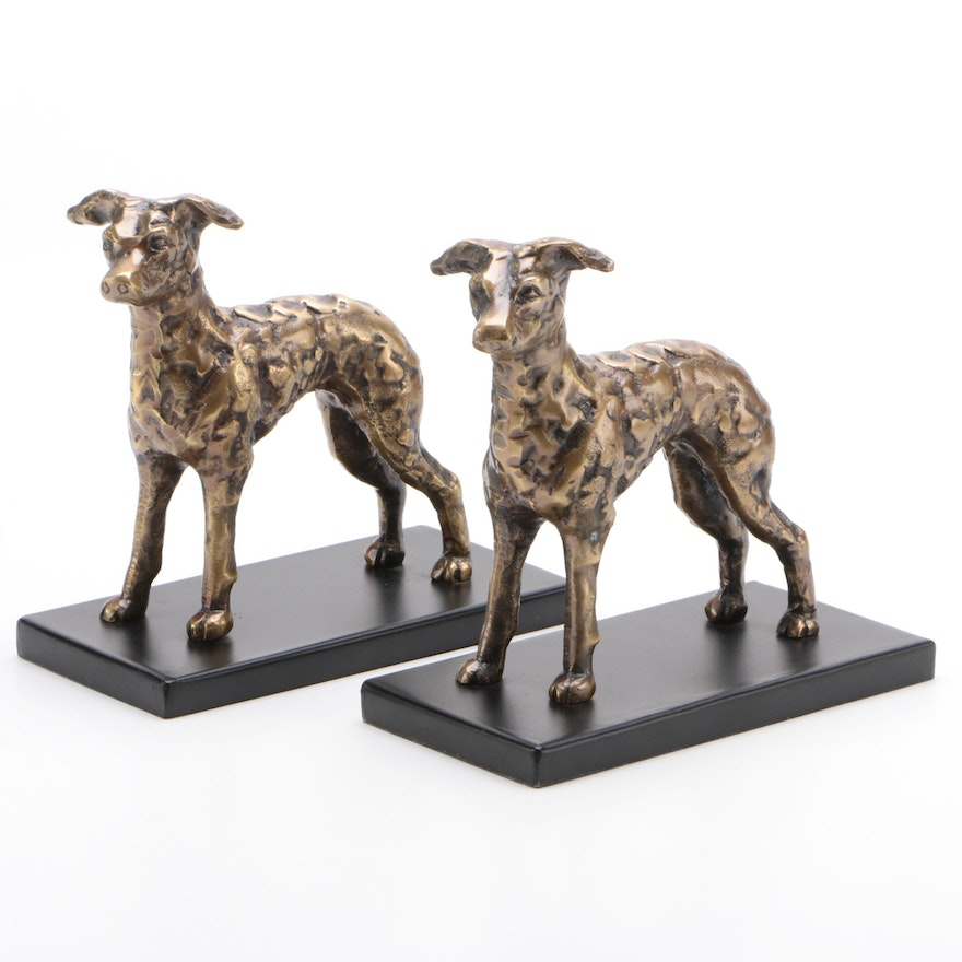 Pair of Cast Brass Dog Bookends