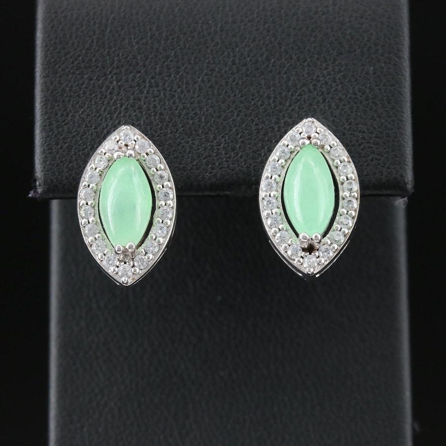 Jadeite and Cubic Zirconia Drop Earrings