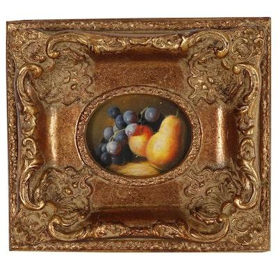 Miniature Fruit Still Life Mixed Media Painting