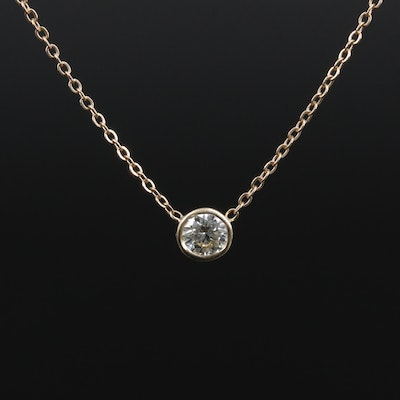 14K Yellow Gold 0.23 CT Diamond Solitaire Pendant Necklace