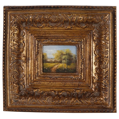 Miniature Pastoral Landscape Oil Painting