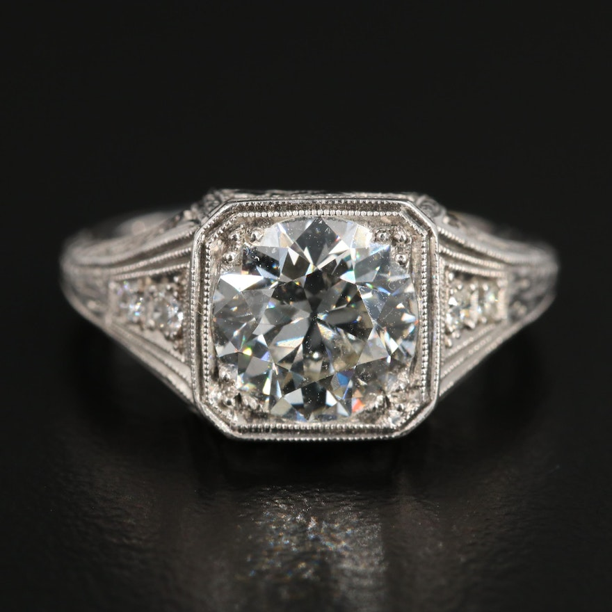 Art Deco Platinum 1.95 CTW Diamond Ring