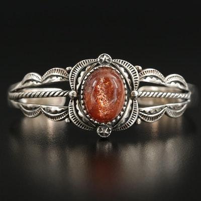 Southwestern Sterling Silver Oregon Sunstone Cuff Bracelet