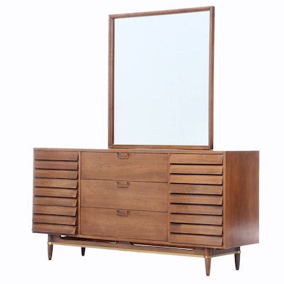Mid Century Modern American of Martinsville Walnut Dresser and Mirror