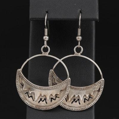 Sterling Silver Drop Hoop Earrings with Pierced Design