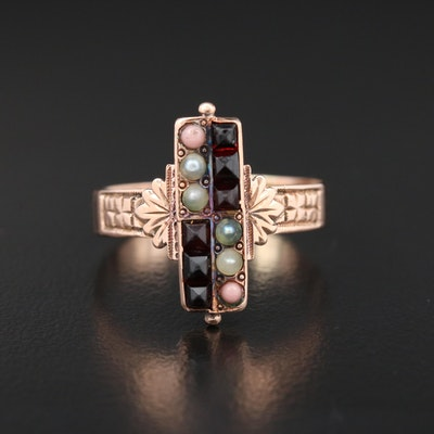 Victorian 10K Gold Garnet, Seed Pearl and Coral Ring