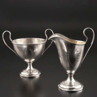 Watson Sterling Silver Creamer and Open Sugar Bowl, Early/Mid 20th Century