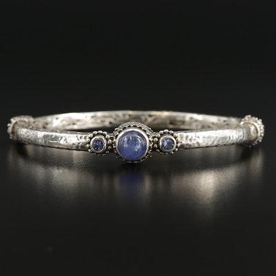 Sarda Sterling Silver Tanzanite Hinged Bracelet