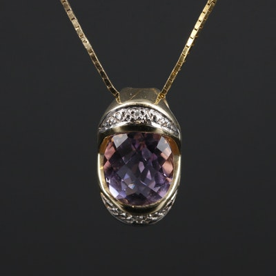 14K Yellow Gold Amethyst and Diamond Pendant Necklace