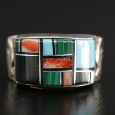 Quoc Turquoise Inc. Sterling Turquoise, Malachite and Mother of Pearl Inlay Ring