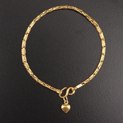 23K Gold Fancy Link Bracelet with Heart Dangle