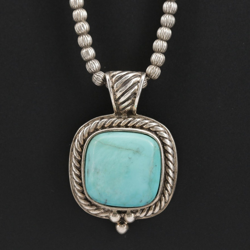 Southwestern Style Sterling Silver Beaded Turquoise Pendant Necklace