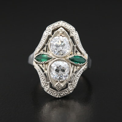 Art Deco 18K and 14K Gold Diamond and Emerald Ring
