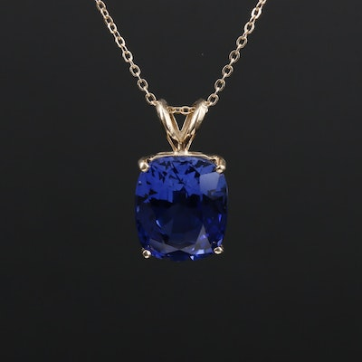 14K Gold Synthetic Sapphire Pendant Necklace
