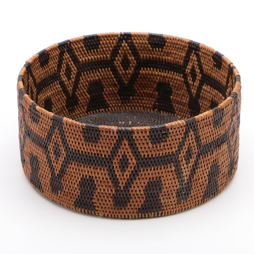 Dichromatic Woven Basket with Diamond Medallions