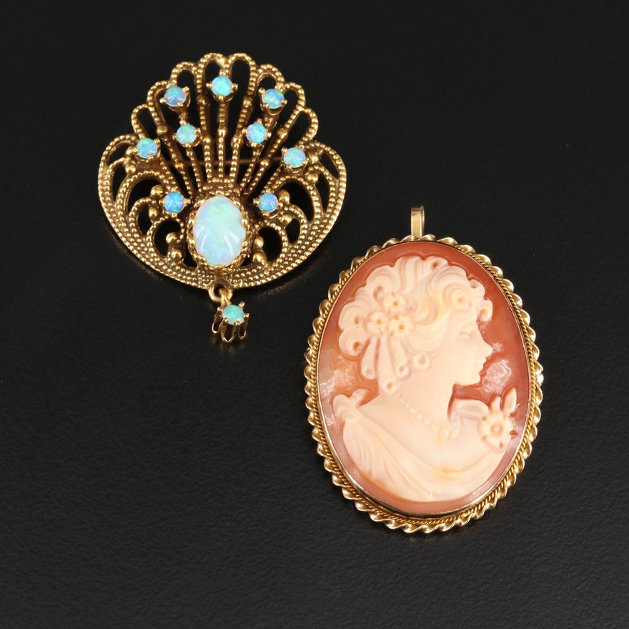 14K Gold Opal and Helmet Shell Converter Brooches