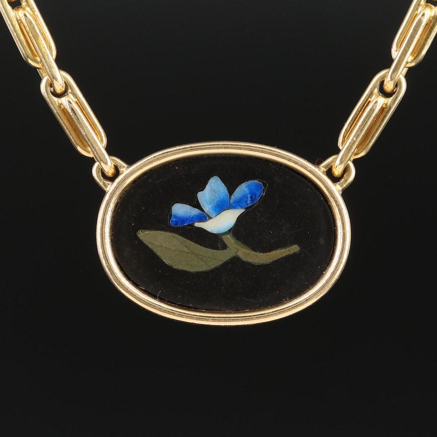 Bvlgari 18K Gold Black Onyx, Lapis Lazuli and Serpentine Pendant Necklace