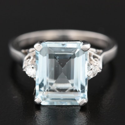 14K White Gold 3.55 CT Aquamarine and Diamond Ring