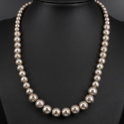 Sterling Silver Graduated Polished Bead Necklace