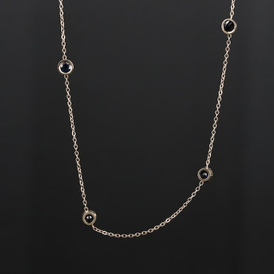 14K Yellow Gold Sapphire Station Necklace