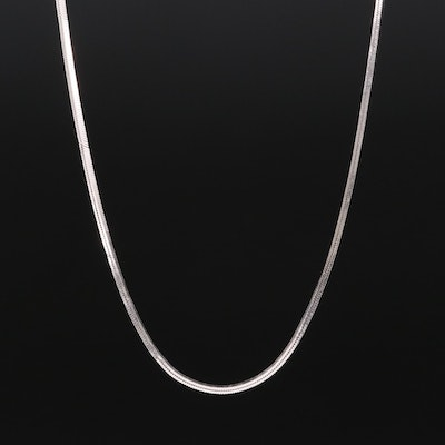 14K White Gold Square Snake Chain Necklace