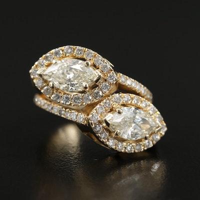 14K Yellow Gold 3.64 CTW Diamond Toi et Moi Ring