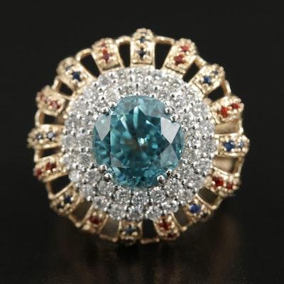 14K Gold Blue Zircon, Fancy Sapphire and 1.07 CTW Diamond Ring
