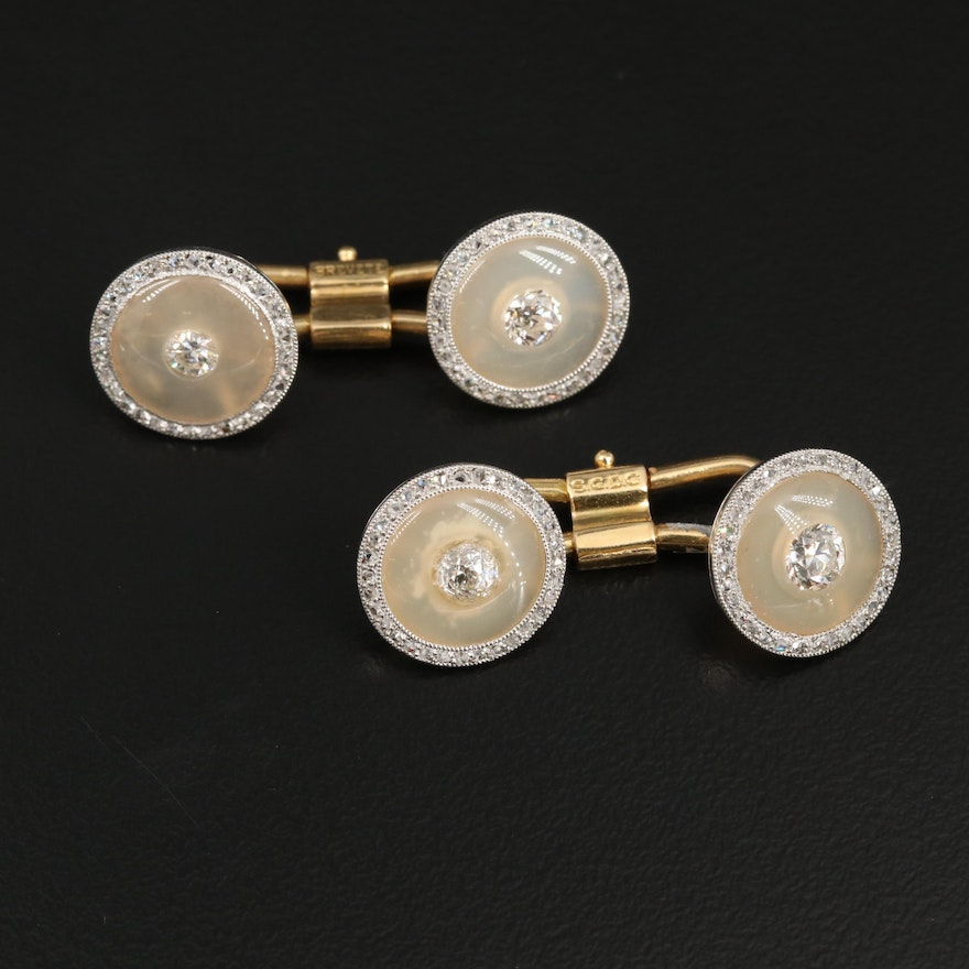 French Platinum and 18K Yellow Gold 1.17 Diamond and Chalcedony Cufflinks