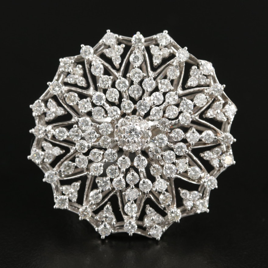18K White Gold 3.52 CTW Diamond Statement Ring