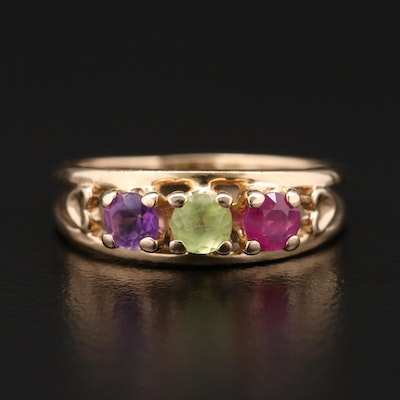 14K Gold Ruby, Amethyst, and Peridot Ring