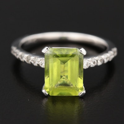 14K Gold Peridot and Diamond Ring
