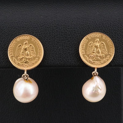 14K Gold Pearl Earrings with 1945 Pesos Mexican Gold Coins