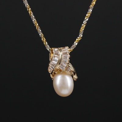 14K and 18K Gold Pearl and Cubic Zirconia Necklace