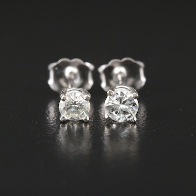 14K White Gold 0.52 CTW Diamond Solitaire Stud Earrings