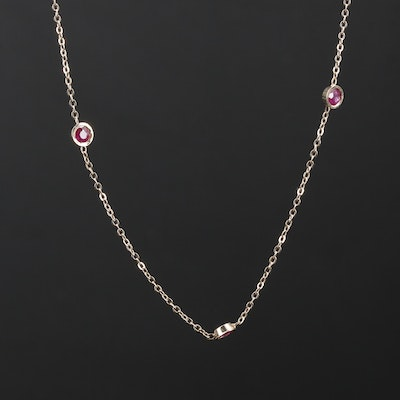 14K Yellow Gold Ruby Station Necklace
