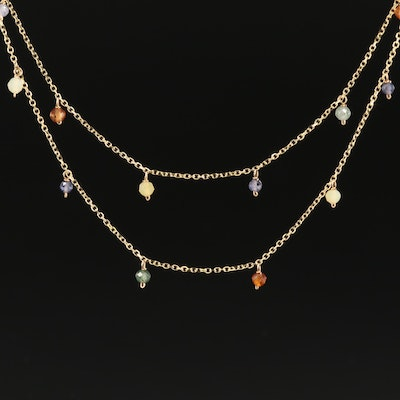 14K Double Strand Station Necklace with Prehnite, Tanzanite and Hessonite