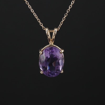 14K Yellow Gold 4.97 CT Amethyst Pendant Necklace