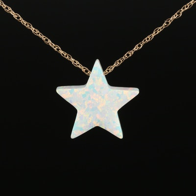 14K Yellow Gold Synthetic Opal Star Pendant Necklace
