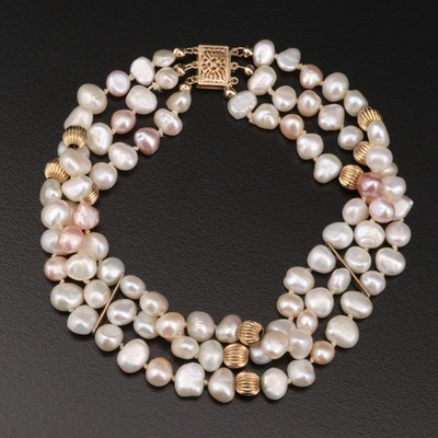 Triple Strand Pearl Bracelet with 14K Findings and Spacer Beads
